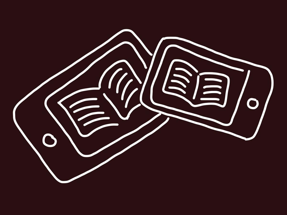 böcker i tablet och smartphone